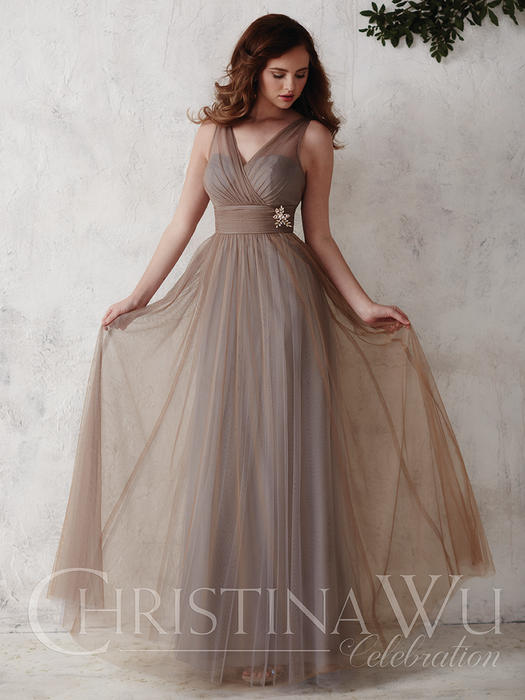 House of Wu - Contrast Tulle V-Neck Bridesmaid Gown