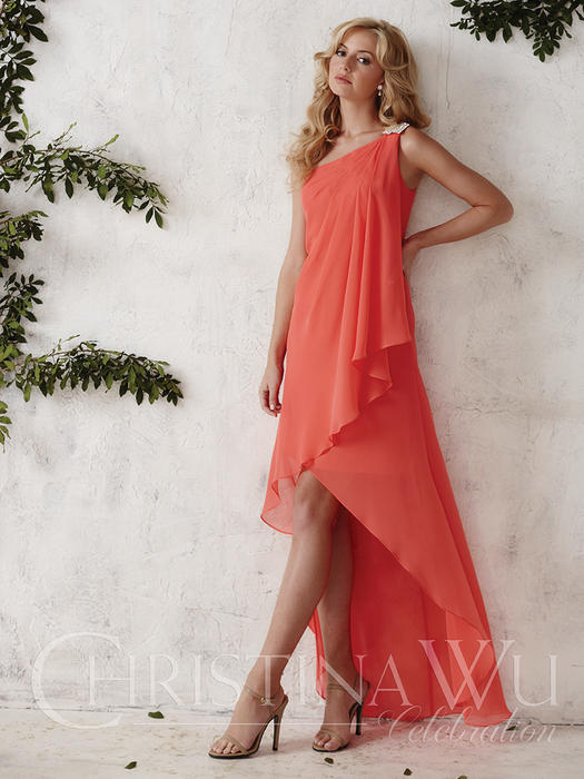 House of Wu - Wrapped Chiffon High-Low Bridesmaid Gown