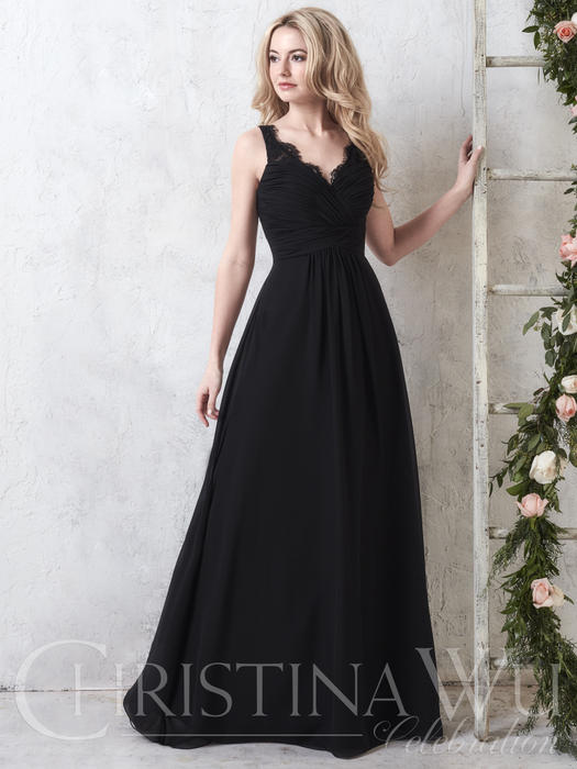 House of Wu - Chiffon Gown with Pleated Bodice