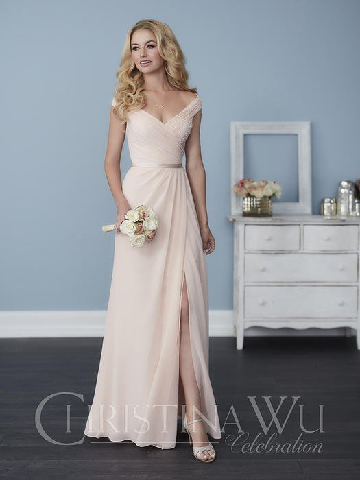 House of Wu - Chiffon Surplice Neck Open Back Bridesmaid Gown