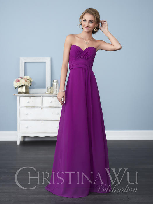House of Wu - Strapless Ruched Chiffon A-Line Bridesmaid Gown
