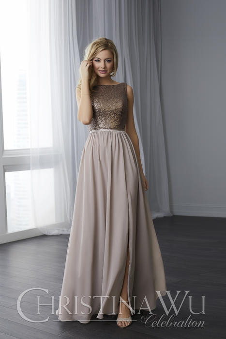 House of Wu - Sequined A-Line Bridesmaid Gown