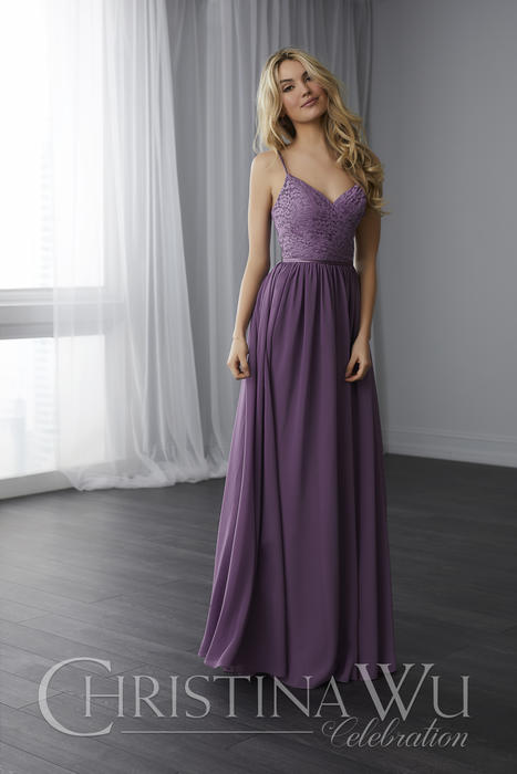 House of Wu - Lace Bodice V-Neck Bridesmaid Gown