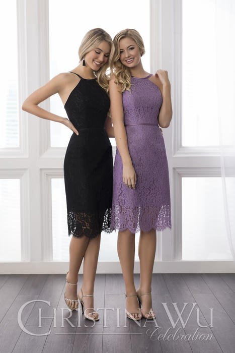 House of Wu - Scalloped Lace Halter Bridesmaid Dress