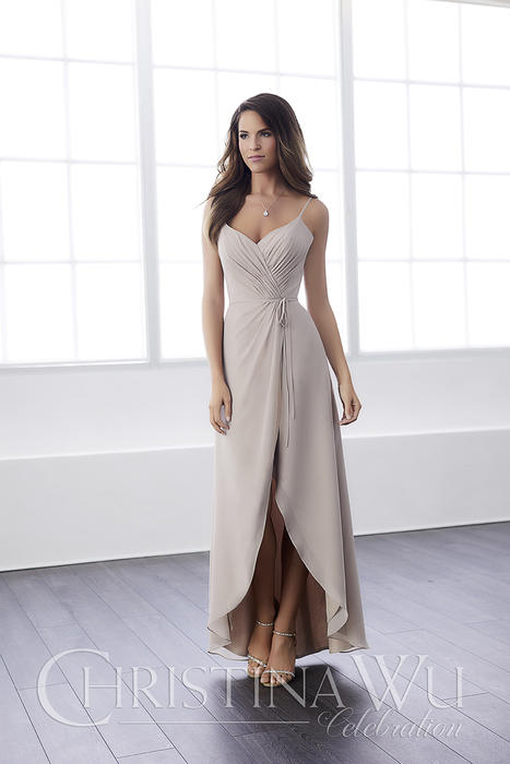 House of Wu - Wrapped V-Neck Bridesmaid Gown