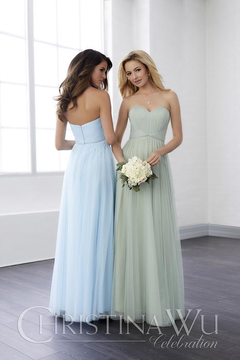 House of Wu - Tulle Gown with Pleated Bodice Bridesmaid Gown