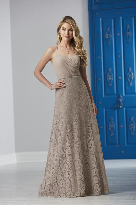 House of Wu - V-Neck Surpliced Chiffon & Lace Bridesmaid Gown