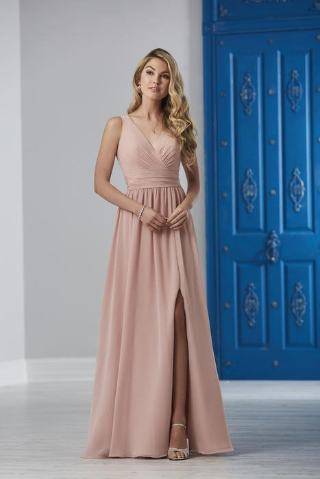 House of Wu - V-Neck Side Slit Chiffon Bridesmaid Gown