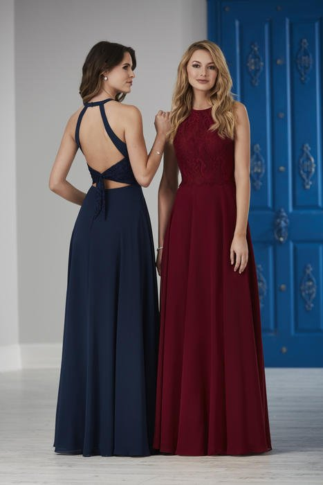 House of Wu - Open Back Lace Bodice Bridesmaid Gown