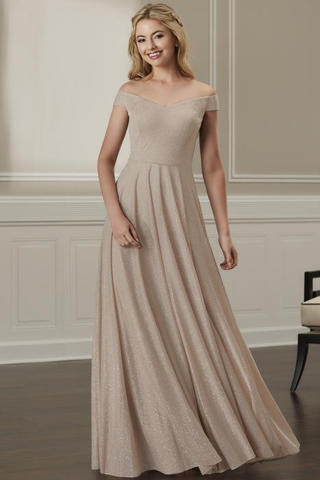 House of Wu - Off-Shoulder Glitter Bridesmaid Gown