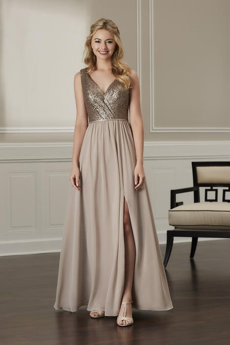 House of Wu - Glitter Bodice V-Neck Bridesmaid Gown