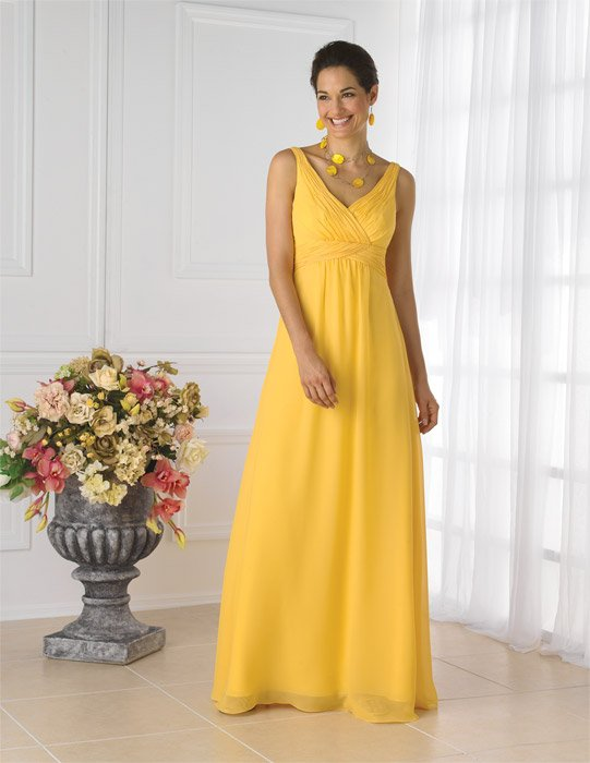 House of Wu - Ruched Chiffon Surplice Neck A-Line Bridesmaid Gow