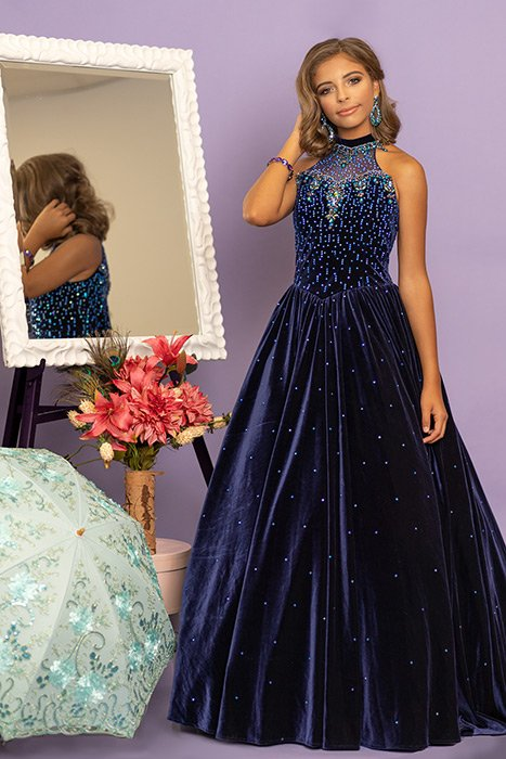 Sugar Kayne Girls Velvet Pageant Dress