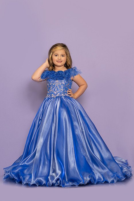 Sugar Kayne Girls Pageant Dress W/ Feathers