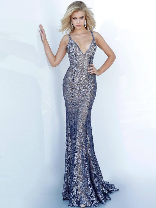 Jovani - Lace Metallic Beaded Open Back Gown