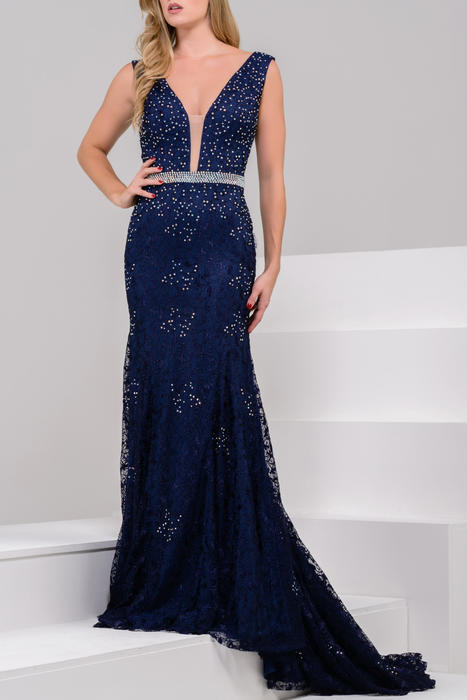 Jovani - Plunging V Lace Swept Train Gown