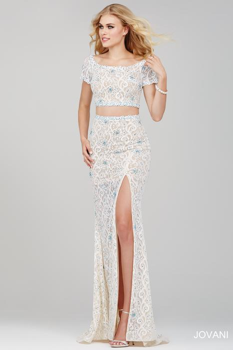 Jovani - Short-Sleeved Lace Two-Piece