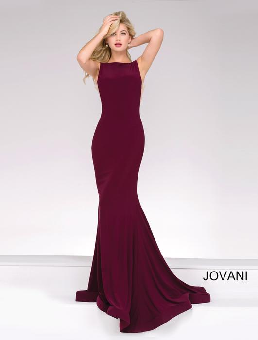 Jovani - Open Back Jersey Sheath Gown