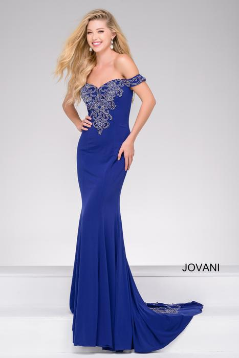 Jovani - Beaded Off-The-Shoulder Jersey