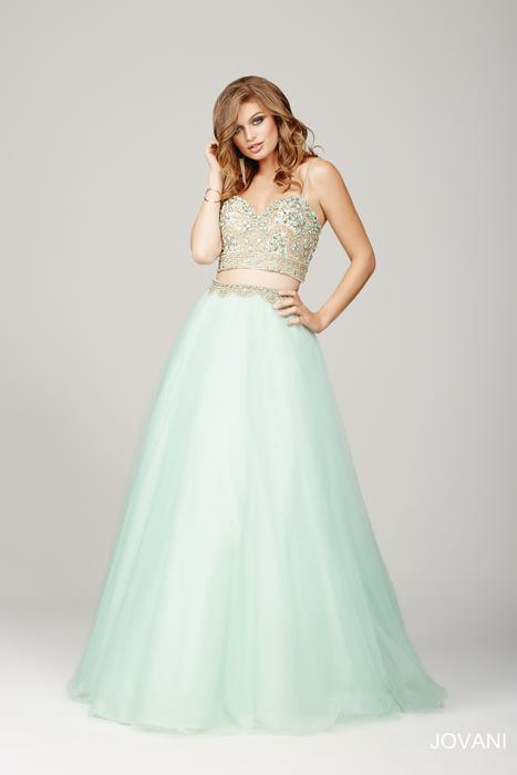 Jovani - Beaded Tulle Spaghetti Strap Two-Piece