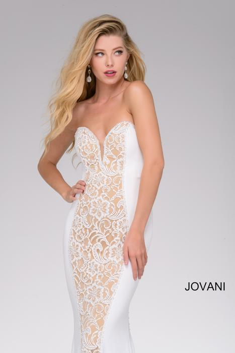 Jovani - Jersey Beaded Strapless Gown