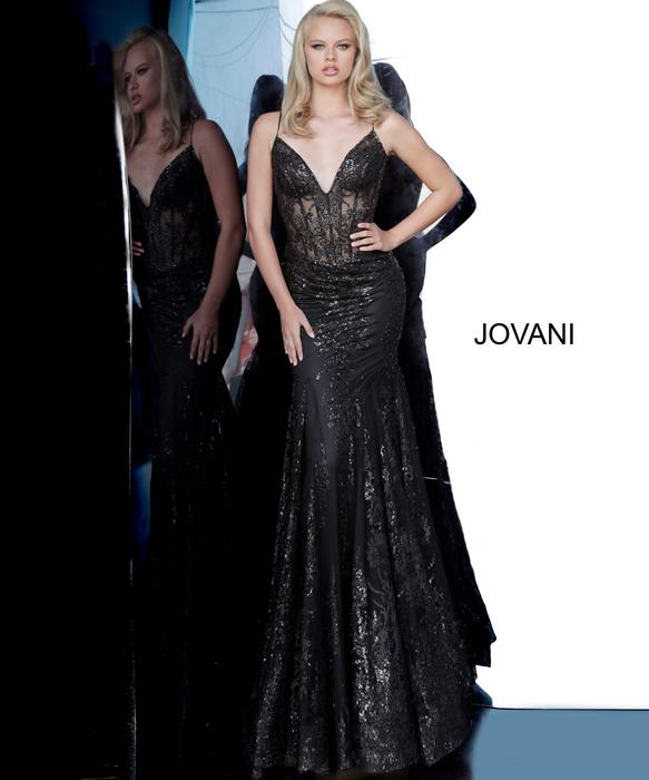 Jovani - Mesh Metallic Embroidered Gown