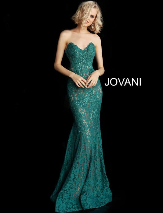 Jovani - Strapless Beaded Lace Sheath