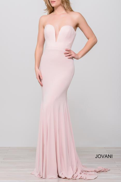 Jovani - Plunging Sweetheart Jersey Gown