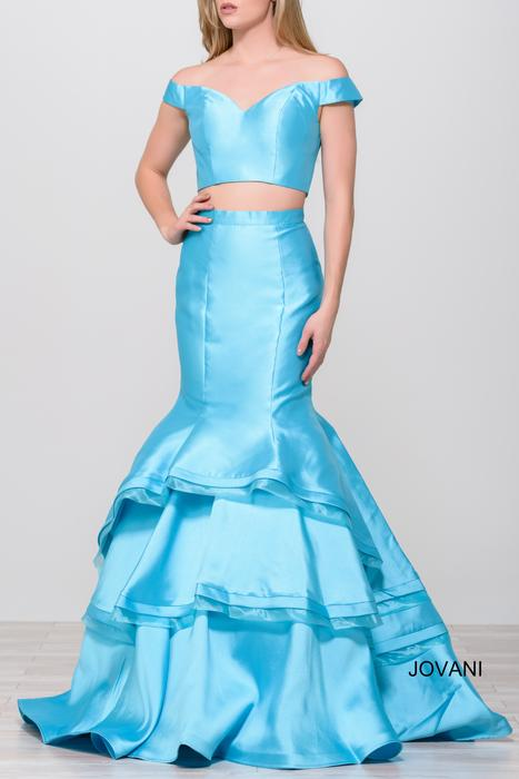 Jovani - Taffeta Off-The-Shoulder Two-Piece