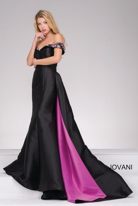 Jovani - Satin Off-The-Shoulder with Satin Overlay