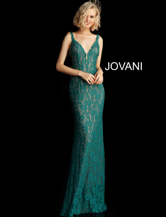 Jovani - All Over Lace Open Back V-Neck Gown