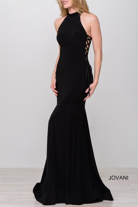 Jovani - Jersey Side Lace Up Halter Gown