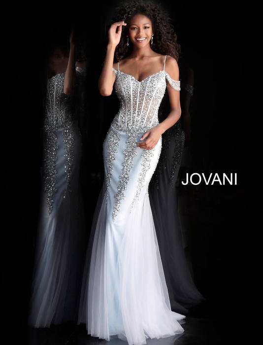 Jovani - Beaded Tulle Off-The-Shoulder