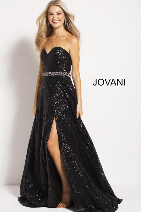 Jovani - Sequin Gown Beaded Waist Strapless