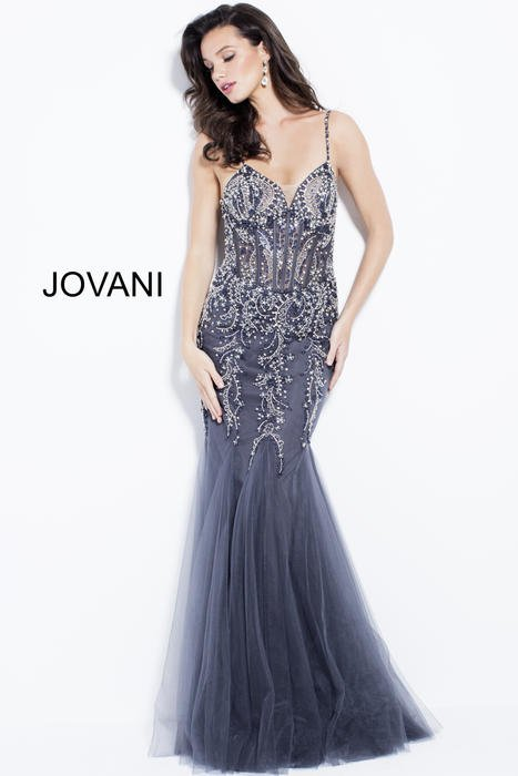 Jovani - Mesh Beaded Gown