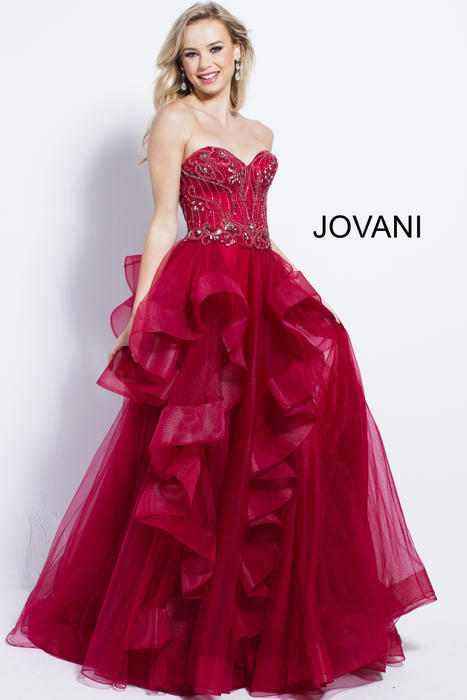 Jovani - Tulle Ruffle Gown Beaded Strapless Bodice