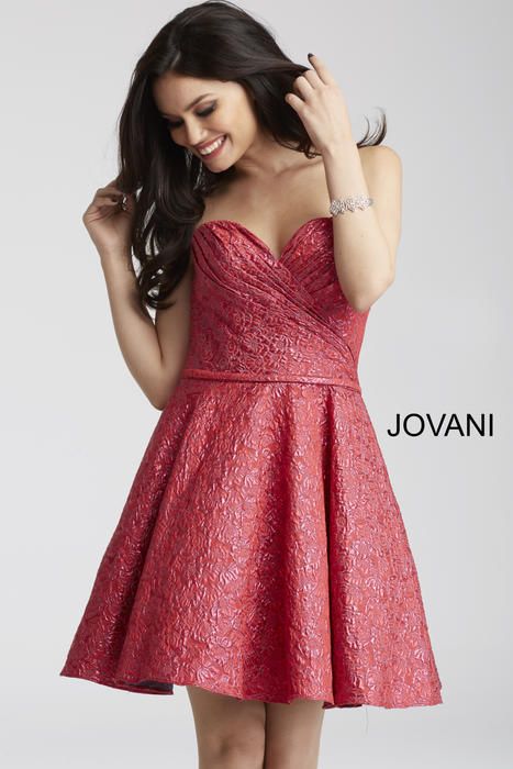 Jovani - Metallic Brocade Dress Strapless