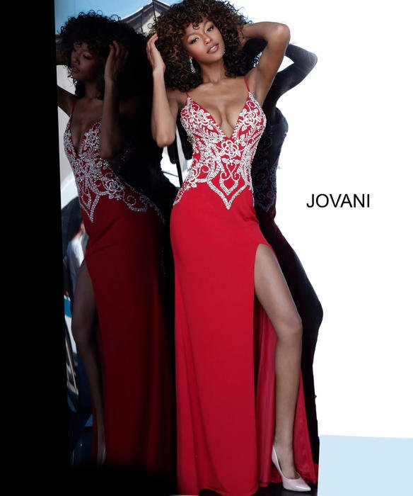 Jovani - Beaded Jersey Gown Low V-Back Plunging Neckline
