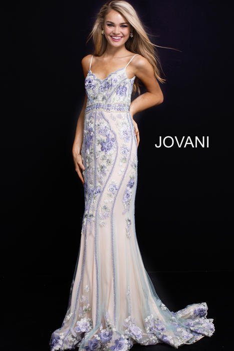 Jovani - Tulle Floral Embroidered Beaded Gown