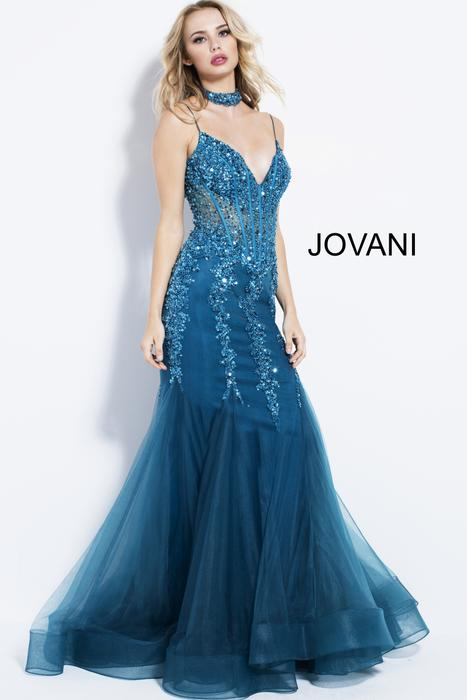 Jovani - Beaded Mermaid Gown Spaghetti Straps