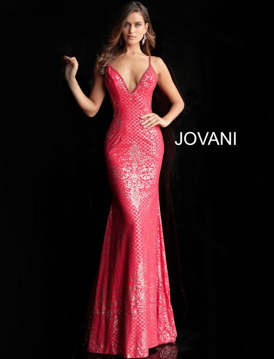 Jovani - Jersey Metallic Print Gown Beaded Strap
