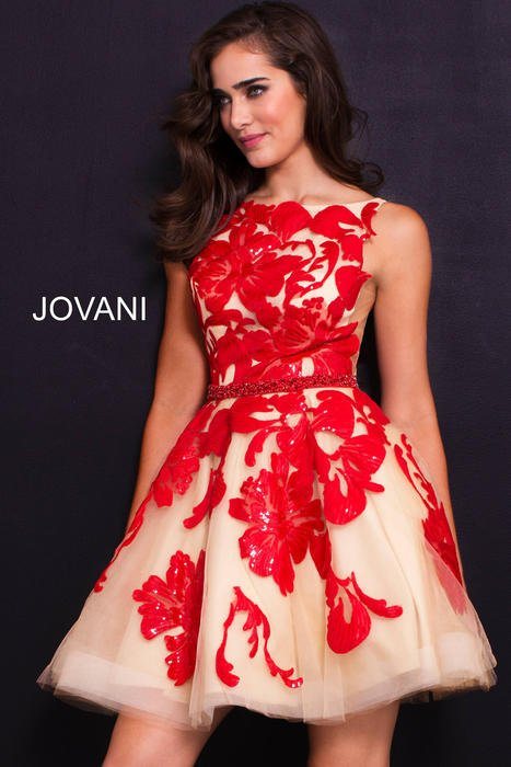 Jovani - Tulle Sequin Embroidered Dress