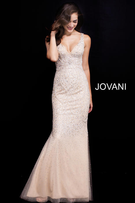 Jovani - Beaded Gown Tank With Scarf