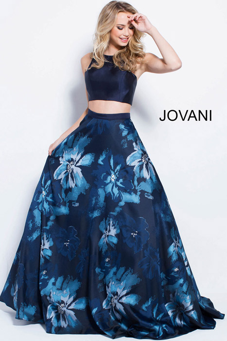 Jovani - Two Piece Satin Print Skirt Top