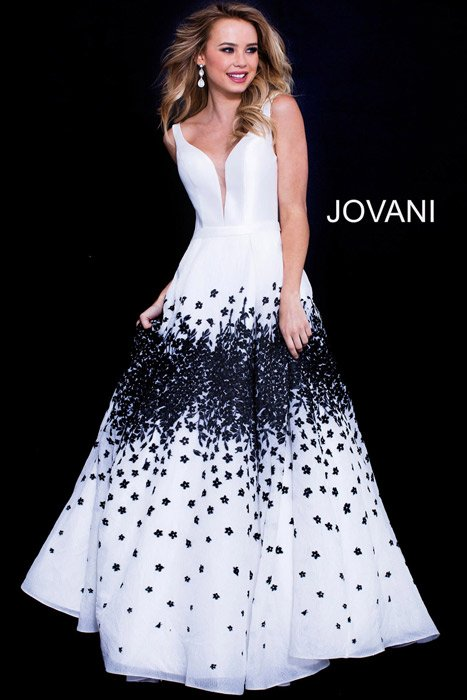 Jovani - Embroidered Gown Satin Bodice