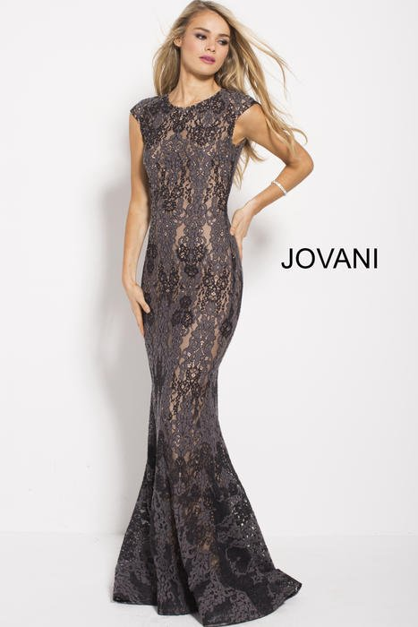 Jovani - Beaded Lace High Neck Cap Sleeve Gown