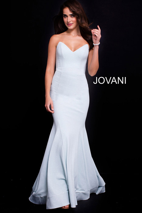 Jovani - Jersey Metallic Gown Strapless With Scarf