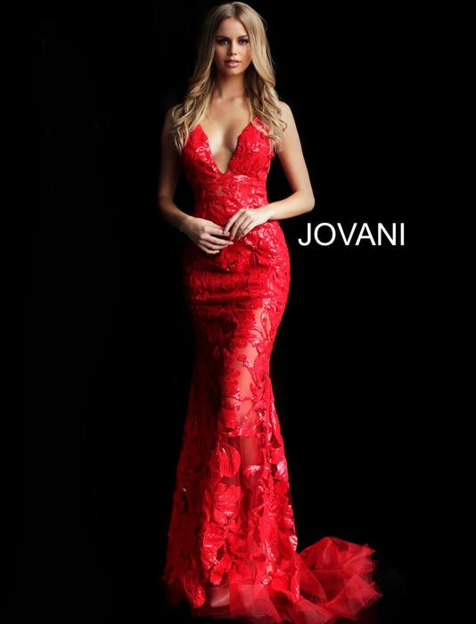 Jovani - V-Neck Spaghetti Strap Embroidered Gown