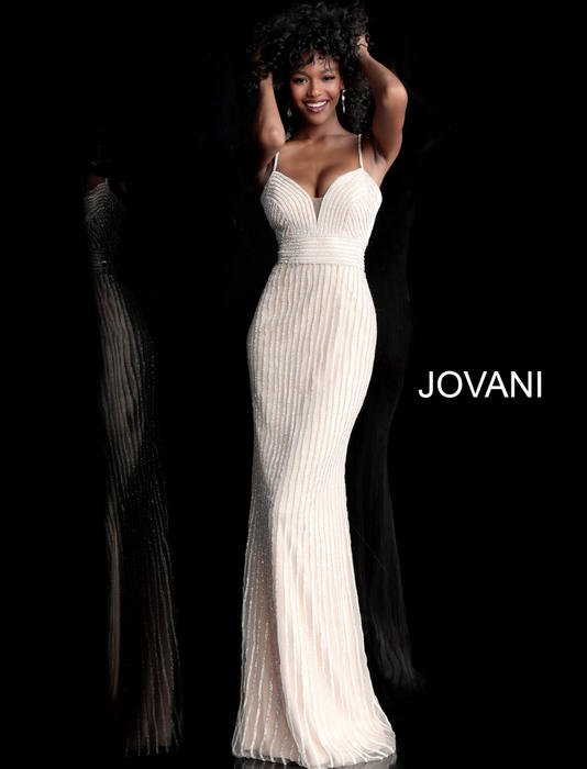 Jovani - Mesh Beaded Gown Spaghetti Strap