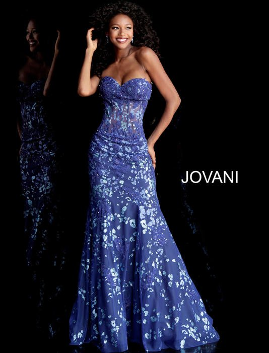 Jovani - Tulle Strapless Beaded Gown